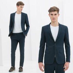 Zara Man Navy Blue Slim Blazer Jacket
